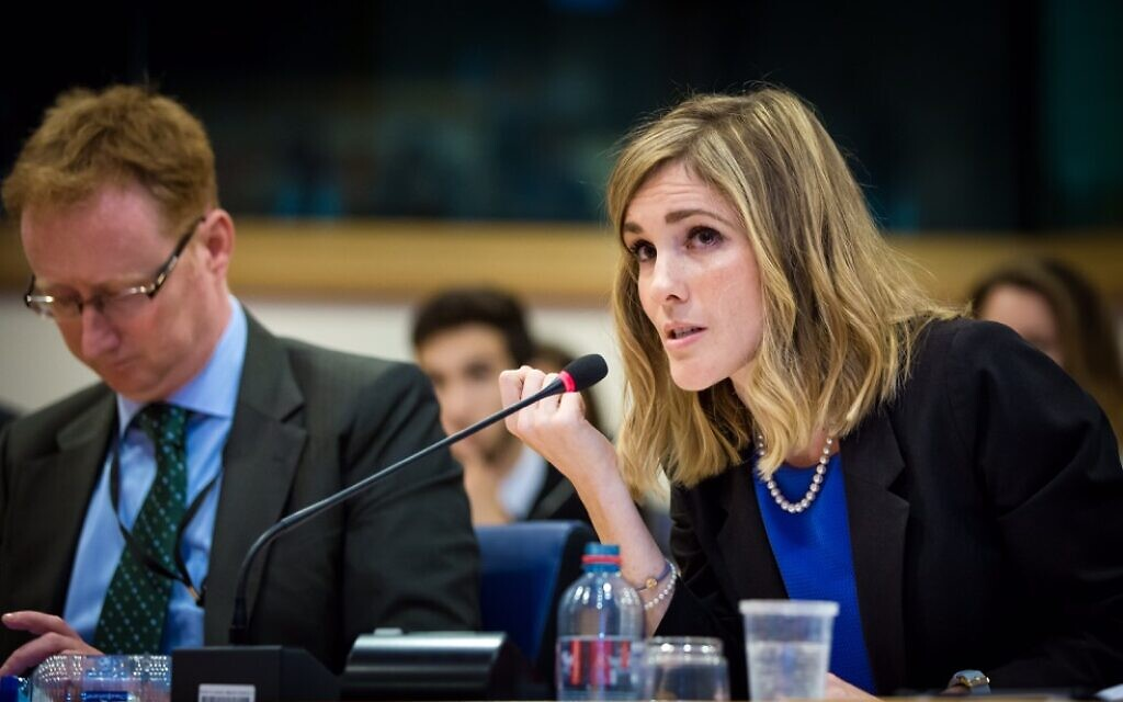 Holly Huffnagle speaks at European Parliament on Jewish community security in 2017. (Courtesy)