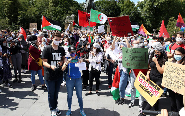 Protesters demonstrate against Israel's plan to annex parts of the West Bank during a rally in Brussels, Belgium, on June 28, 2020. (Dursun Aydemir/Anadolu Agency via Getty Images via JTA)