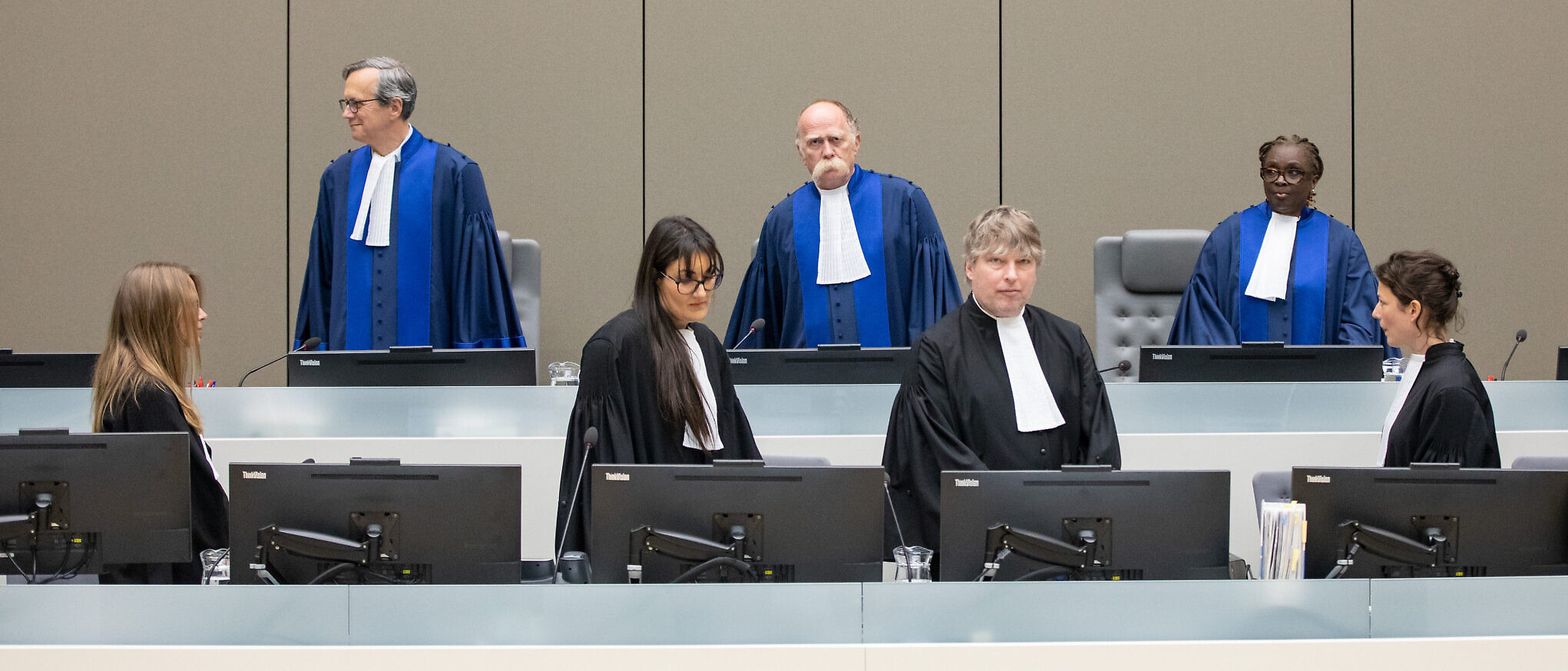 The Pre-Trial Chamber of the International Criminal Court (ICC), composed of Judge Péter Kovács, Presiding Judge, Judge Marc Perrin de Brichambaut and Judge Reine Alapini-Gansou (courtesy ICC)