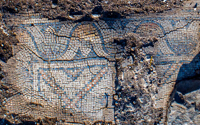 Mosaic floor of 1,300-year-old church in the village of Kfar Kama, near Mount Tabor. (Alex Wiegmann, Israel Antiquities Authority)