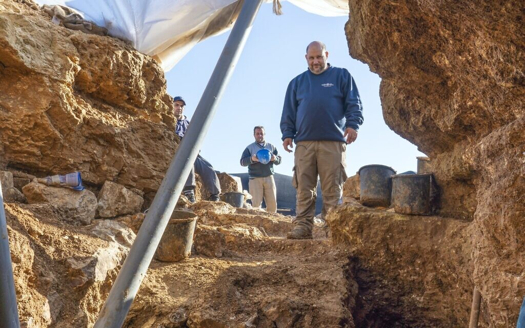 Israel Antiquities Authority archaeologist Nathan Ben-Ari at the Arnona, Jerusalem excavation site of a 2,700-year-old administrative center. (Yaniv Berman, Israel Antiquities Authority)