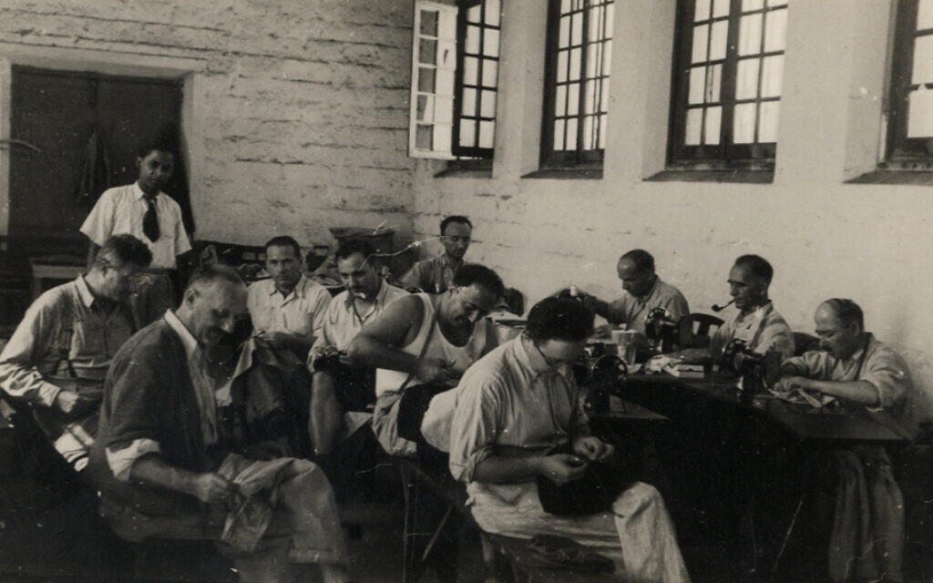 A sewing workshop in the Men's section in the Beau Bassin prison, Mauritius. (Courtesy Ghetto Fighters' House Archives, Israel)