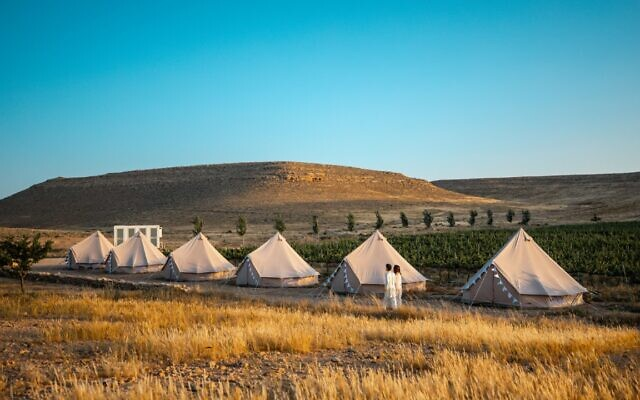 Glamping Israel's pop-up glamping experience at the Nana vineyard in Mizpe Ramon in Israel's Negev region, during the coronavirus (Courtesy Glamping Israel)