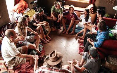 Ophir and Dor Haberer lead a men's retreat in Colorado, in 2018. (Brian Hedden/ via JTA)