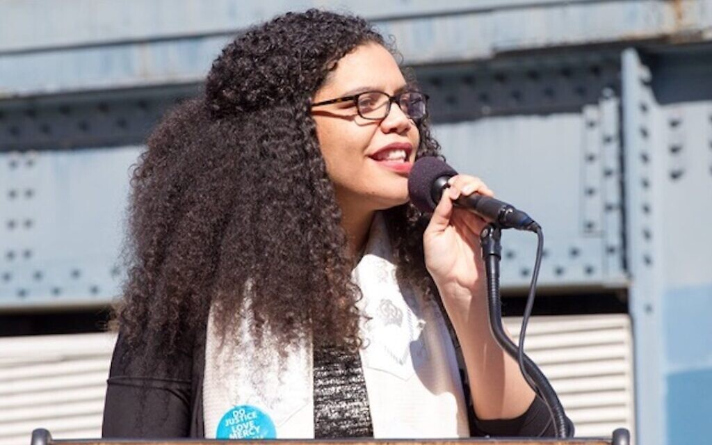 April Baskin speaking at the March for Racial Justice in New York in 2017. (Mirah Curzer/ via JTA)