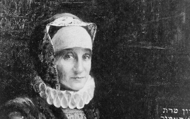Bertha Pappenheim, a descendant of Glickl Hamel, poses as Glikl for this portrait painted by the artist Leopold Pilichowski. (Courtesy of the Leo Baeck Institute/ via JTA)
