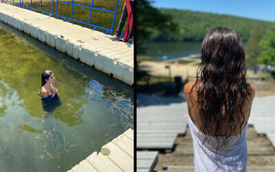 Alexa Rae Ibarra immersed in the lake at Camp Ramah in the Berkshires to complete her conversion to Judaism. (Courtesy of Ibarra via JTA)