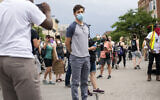 Minneapolis Mayor Jacob Frey looks on during a demonstration calling for the Minneapolis police department to be defunded, June 6, 2020. (Stephen Maturen/Getty Images via JTA)