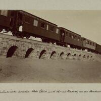 A railway bridge on the Hejaz Railway. (Construction on the Hejaz Railway. Photo - Karl Lorenz Auler, from the National Library of Israel archives)