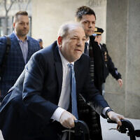Harvey Weinstein arrives at a Manhattan courthouse during jury deliberations in his rape trial in New York,  Feb. 24, 2020. (John Minchillo/AP)
