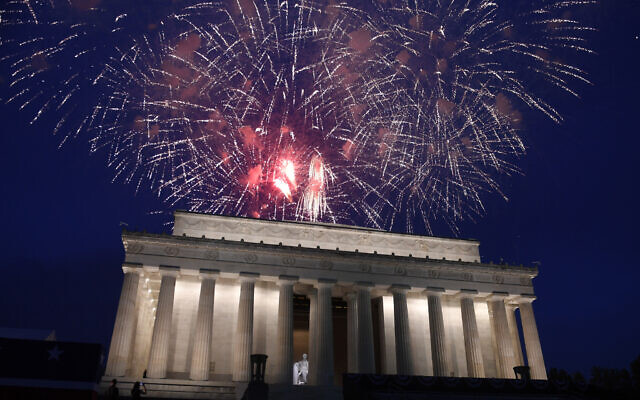 In this July 4, 2019 file photo, fireworks go off over the Lincoln Memorial in Washington, Thursday, July 4, 2019.  (AP Photo/Susan Walsh)