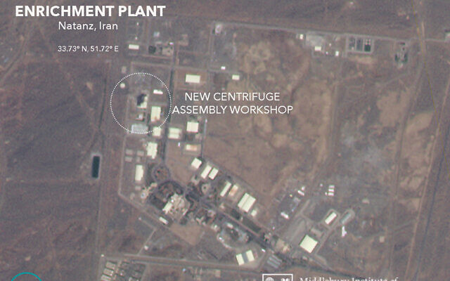 A satellite image from Planet Labs Inc. that has been annotated by experts at the James Martin Center for Nonproliferation Studies at Middlebury Institute of International Studies shows a damaged building after a fire and explosion at Iran's Natanz nuclear site, on July 3, 2020. (Planet Labs Inc., James Martin Center for Nonproliferation Studies at Middlebury Institute of International Studies via AP)