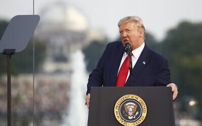 US President Donald Trump speaks during a 'Salute to America' event on the South Lawn of the White House, in Washington, July 4, 2020. (o/Patrick Semansky/AP)