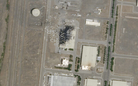The aftermath of an explosion and a fire at an advanced centrifuge assembly plant at Iran's Natanz nuclear site, July 5, 2020. (Planet Labs Inc. via AP)