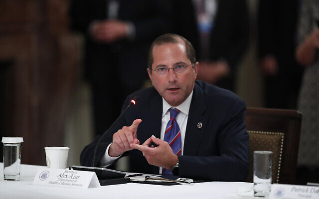"""US Health and Human Services Secretary Alex Azar during a """"National Dialogue on Safely Reopening America's Schools,"""" event in the East Room of the White House on July 7, 2020, in Washington. (AP/Alex Brandon)"""