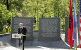 Israeli Ambassador in Albania Noah Gal Gendler speaks during the inauguration of a Holocaust memorial in Tirana, on Thursday, July 9, 2020. (Xhulio Hajdari /Tirana City Hall via AP)