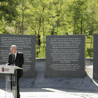 Israeli Ambassador in Albania Noah Gal Gendler speaks during the inauguration of a Holocaust memorial in Tirana, on Thursday, July 9, 2020. (Xhulio Hajdari /Tirana City Hall via AP)