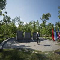 Albanian Prime Minister Edi Rama speaks during the inauguration of a memorial in Tirana, on July 9, 2020. (Xhulio Hajdari/Tirana City Hall via AP)