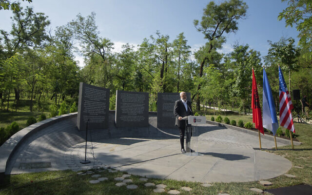 Albanian Prime Minister Edi Rama speaks during the inauguration of a memorial in Tirana, on July 9, 2020. (Xhulio Hajdari/Tirana City Hall via AP)