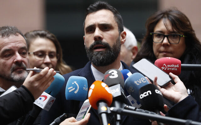 Roger Torrent, president of Catalonian Parliament, speaking at the European Parliament in Strasbourg, France, January 13, 2020. (AP Photo/Jean-Francois Badias)