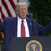 US President Donald Trump during a news conference in the Rose Garden of the White House, July 14, 2020, in Washington. (Evan Vucci/AP)