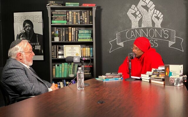 Rabbi Abraham Cooper (left) and Nick Cannon during a conversation on July 16, 2020, in Burbank, California. (Rabbi Abraham Cooper via AP)
