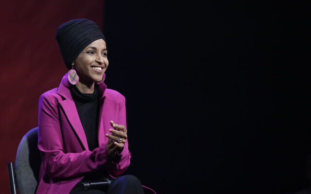 Rep. Ilhan Omar of Minnesota participates in a panel during a campaign event in Clive, Iowa, on January 31, 2020. (Marcio Jose Sanchez/AP)