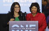 In an October 26, 2018, file photo, Rashida Tlaib, left, then-Democratic candidate for the Michigan's 13th Congressional District, and Brenda Jones speak during a rally in Detroit. (AP/Paul Sancya, File)
