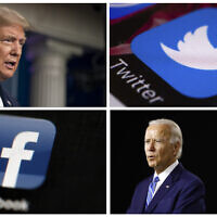 This photo combo of images shows, clockwise, from upper left: US President Donald Trump speaking during a news conference at the White House on July 22, 2020, in Washington, the Twitter app, Democratic presidential candidate, former Vice President Joe Biden speaking during a campaign event on July 14, 2020, in Wilmington, Delaware, and the Facebook app (AP Photo)