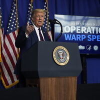 US President Donald Trump speaks during a coronavirus briefing at Bioprocess Innovation Center at Fujifilm Diosynth Biotechnologies, Monday, July 27, 2020, in Morrisville, NC. (AP Photo/Evan Vucci)