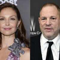 "Ashley Judd attends the premiere of ""The Divergent Series: Insurgent"" in New York on March 16, 2015, left, and film producer Harvey Weinstein arrives at The Weinstein Company and Netflix Golden Globes afterparty in Beverly Hills, California on March 16, 2015. (AP)"