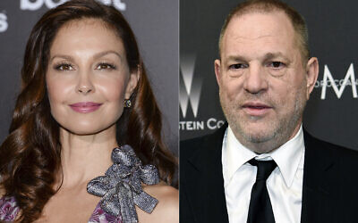 """Ashley Judd attends the premiere of """"The Divergent Series: Insurgent"""" in New York on March 16, 2015, left, and film producer Harvey Weinstein arrives at The Weinstein Company and Netflix Golden Globes afterparty in Beverly Hills, California on March 16, 2015. (AP)"""