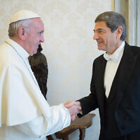 Illustrative: Pope Francis meets Oren David, the new Israeli Ambassador to the Holy See, on the occasion of the presentation of letters of credentials, at the Vatican, Thursday, Oct. 27, 2016. (L'Osservatore Romano/ANSA via AP)