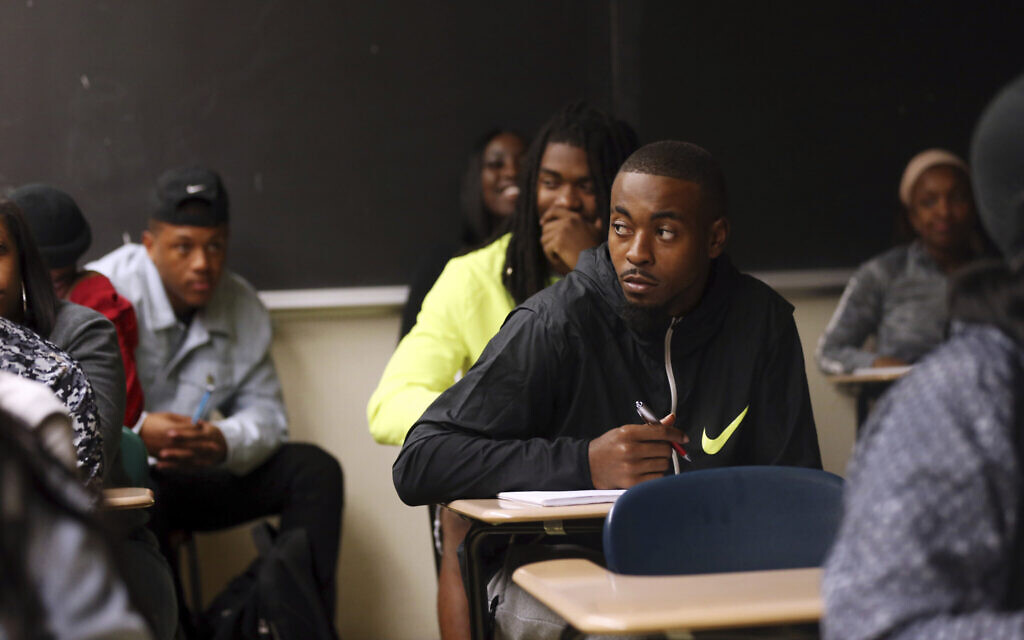Illustrative: In this November 13, 2017 photo, Devante Kincade, quarterback for the Grambling's NCAA college football game college football team, listens during a criminal justice class at the university in Grambling, Louisiana (AP Photo/Gerald Herbert)