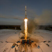 In this Tuesday, Nov. 28, 2017 file photo, a Russian Soyuz 2.1b rocket lifts off from the launch pad at the new Vostochny cosmodrome outside the city of Tsiolkovsky, Russia. (AP/Dmitri Lovetsky)