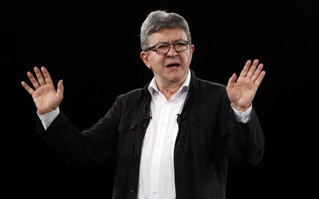 French far-left leader Jean-Luc Melenchon, gives a speech during a campaign event in Marseille, southern France, May 11, 2019. (AP Photo/Claude Paris)
