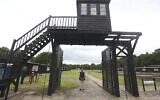 The wooden main gate leading into the former Nazi German Stutthof concentration camp photographed in Sztutowo, Poland, July 18, 2017. (Czarek Sokolowski/AP)
