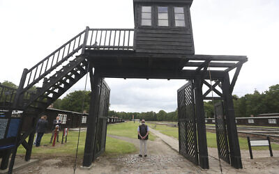 The wooden main gate leading into the former Nazi concentration camp Stutthof, photographed in Sztutowo, Poland, July 18, 2017. (Czarek Sokolowski/AP)