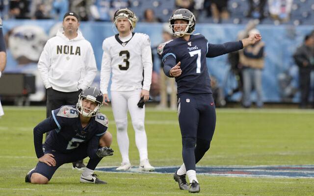 Tennessee Titans kicker Greg Joseph (7) warms up before an NFL football game against the New Orleans Saints Sunday, Dec. 22, 2019, in Nashville, Tenn. (AP Photo/Mark Zaleski)