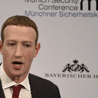 Facebook CEO Mark Zuckerberg speaks on the second day of the Munich Security Conference in Munich, Germany, February 15, 2020. (Jens Meyer/AP)