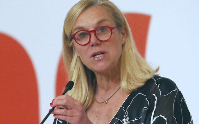 Netherlands' Minister for Foreign Trade and Development Cooperation Sigrid Kaag delivers a speech during the Netherlands Economic Mission to Indonesia in Jakarta, Indonesia, March 10, 2020. (AP Photo/Tatan Syuflana)