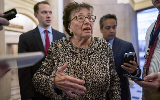 House Appropriations Committee chair Nita Lowey, a Democrat of New York, is questioned by reporters at the Capitol in Washington, March 13, 2020. (J. Scott Applewhite/AP)