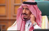 Saudi King Salman in Riyadh, Saudi Arabia, on March 26, 2020. (Saudi Press Agency via AP)