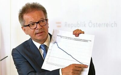 Austria's Health Minister Rudolf Anschober adresses the media during a press conference in Vienna, Austria, April 16, 2020. (Helmut Fohringer/APA via AP, Pool)