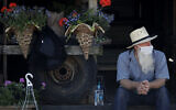 A vendor waits for customers at a drive-thru farmers market, Saturday, May 2, 2020, in Overland Park, Kansas. (AP/Charlie Riedel)
