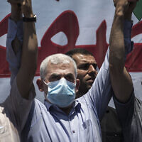 Palestinian Hamas leader in the Gaza Strip, Yahya Sinwar, attends a demonstration against Israeli plans for the annexation of parts of the West Bank, in Gaza City, Wednesday, July 1, 2020. (AP Photo/Khalil Hamra)