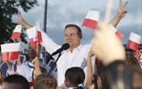Polish President Andrzej Duda speaks to supporters at a presidential election campaign rally in Lomza, Poland, on July 7, 2020 (AP Photo/Czarek Sokolowski)