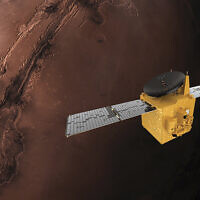 This June 1, 2020, rendering provided by Mohammed Bin Rashid Space Centre shows the Hope probe (MBRSC via AP)