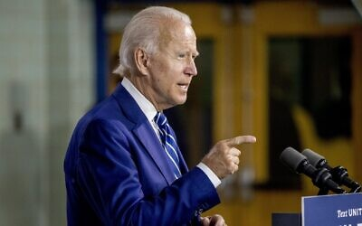 Democratic presidential candidate and former US vice president Joe Biden in New Castle, Del., on July 21, 2020 (AP Photo/Andrew Harnik)