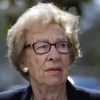 In this March 7, 2019, photo, Eva Schloss, the stepsister of Anne Frank and a Holocaust survivor, attends a news conference in Newport Beach, California. (AP Photo/Jae C. Hong)